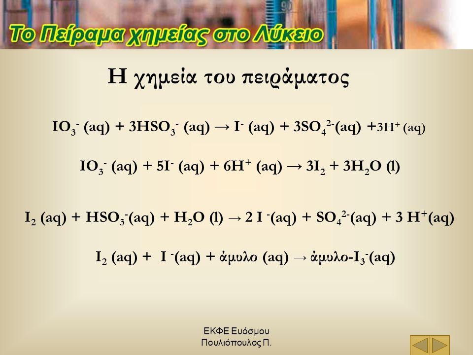 ΕΚΦΕ Ευόσμου Πουλιόπουλος Π. Η χημεία του πειράματος IO 3 - (aq) + 3HSO 3 - (aq) → I - (aq) + 3SO 4 2- (aq) + 3H + (aq) IO 3 - (aq) + 5I - (aq) + 6H +