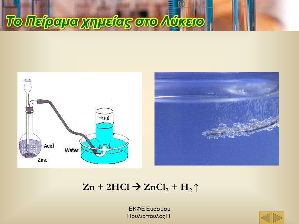 ΕΚΦΕ Ευόσμου Πουλιόπουλος Π. Zn + 2HCl  ZnCl 2 + H 2 ↑