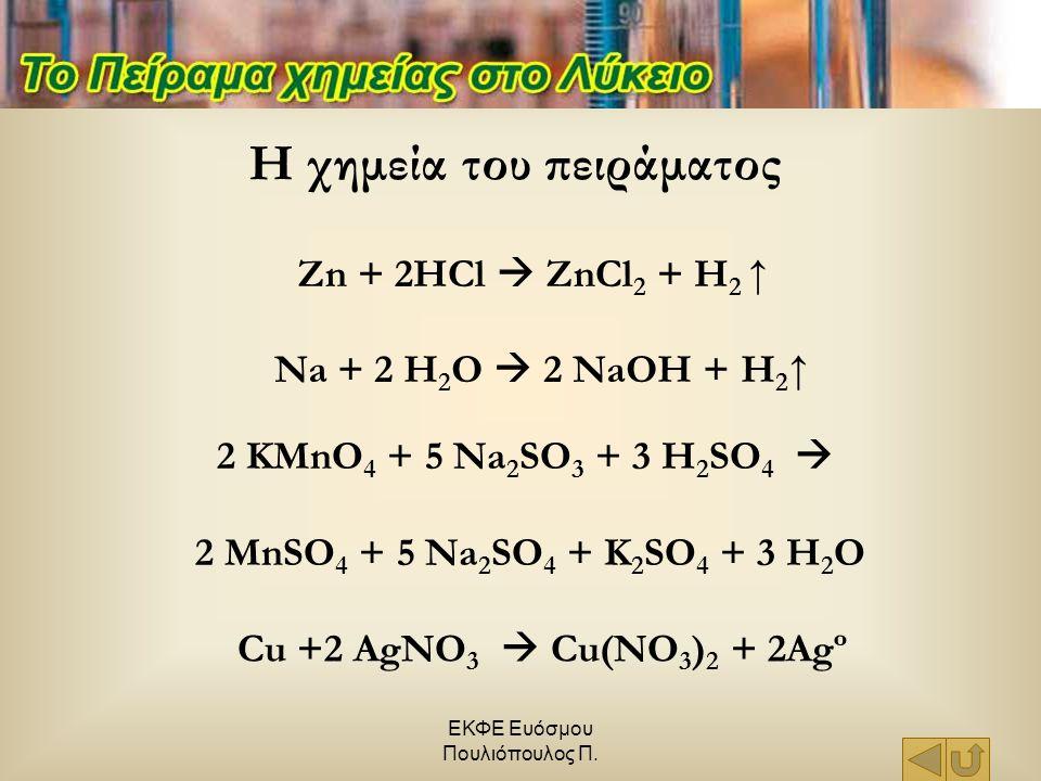ΕΚΦΕ Ευόσμου Πουλιόπουλος Π. Zn + 2HCl  ZnCl 2 + H 2 ↑ Na + 2 H 2 O  2 NaOH + H 2 ↑ 2 KMnO 4 + 5 Na 2 SO 3 + 3 H 2 SO 4  2 MnSO 4 + 5 Na 2 SO 4 + K
