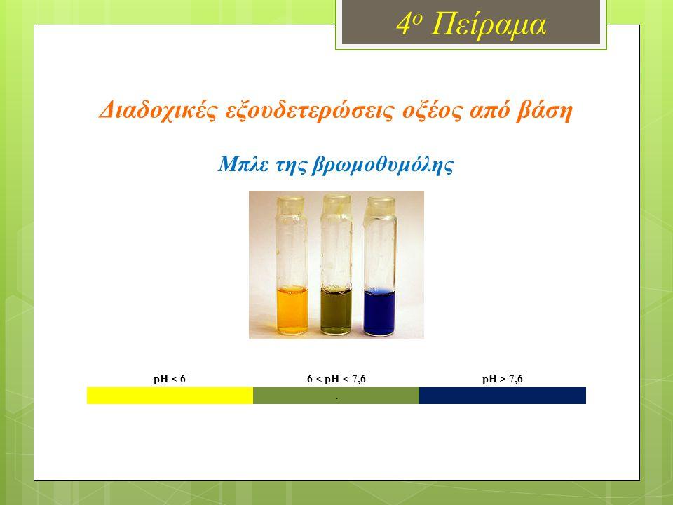 4 ο Πείραμα Διαδοχικές εξουδετερώσεις οξέος από βάση pH < 66 < pH < 7,6pH > 7,6. Μπλε της βρωμοθυμόλης