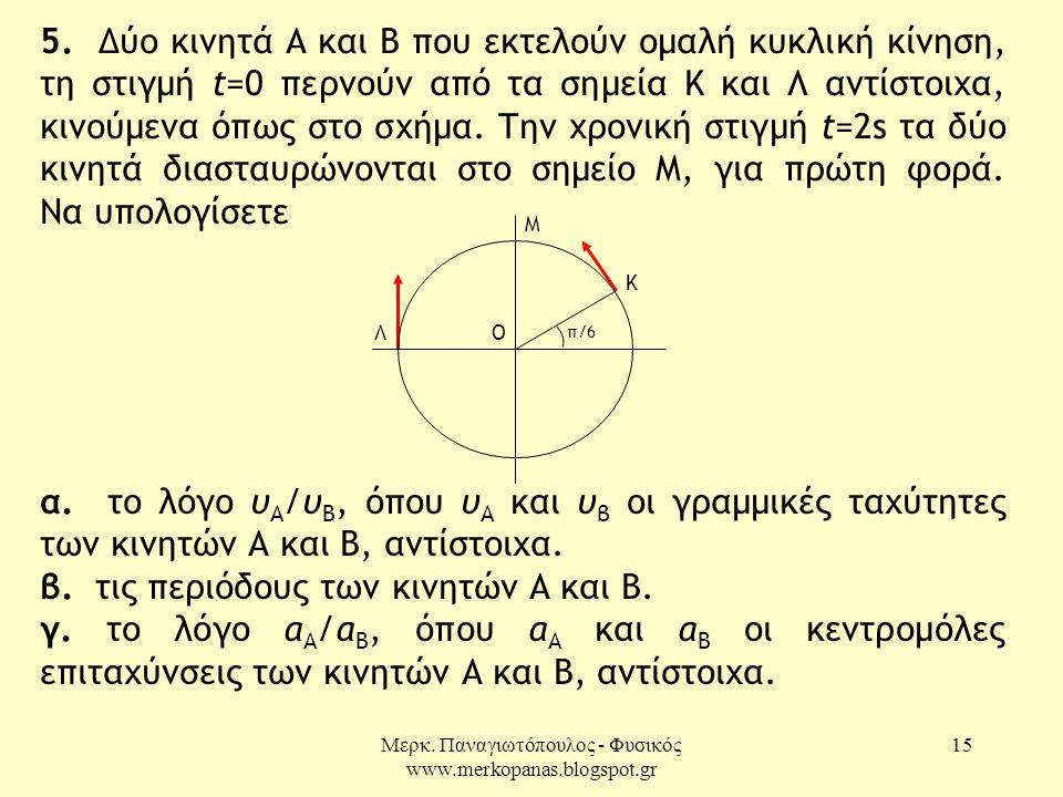Μερκ. Παναγιωτόπουλος - Φυσικός www.merkopanas.blogspot.gr 15 5. Δύο κινητά Α και Β που εκτελούν ομαλή κυκλική κίνηση, τη στιγμή t=0 περνούν από τα ση