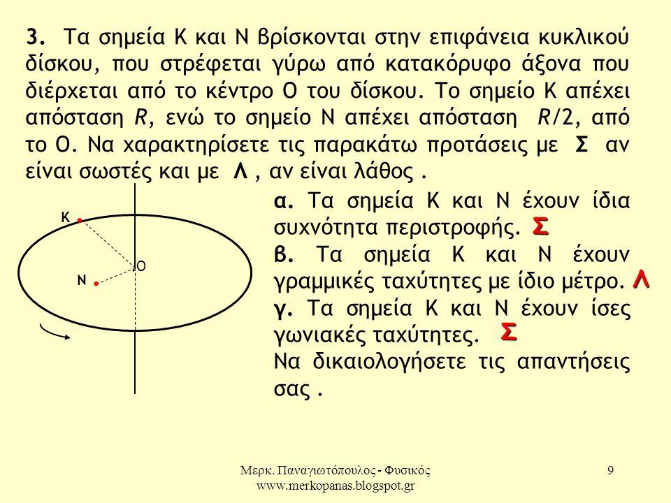 Μερκ. Παναγιωτόπουλος - Φυσικός www.merkopanas.blogspot.gr 9 3. Τα σημεία Κ και Ν βρίσκονται στην επιφάνεια κυκλικού δίσκου, που στρέφεται γύρω από κα