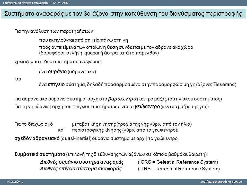 Tομέας Γεωδαισίας και Τοπογραφίας – ΤΑΤΜ - ΑΠΘ A. ΔερμάνηςΣυστήματα αναφοράς και χρόνου A. Δερμάνης Συστήματα αναφοράς και χρόνου Συστήματα αναφοράς μ