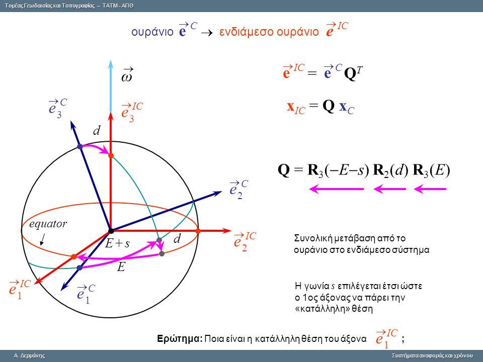 Tομέας Γεωδαισίας και Τοπογραφίας – ΤΑΤΜ - ΑΠΘ A. ΔερμάνηςΣυστήματα αναφοράς και χρόνου A. Δερμάνης Συστήματα αναφοράς και χρόνου E d d E + sE + s e C