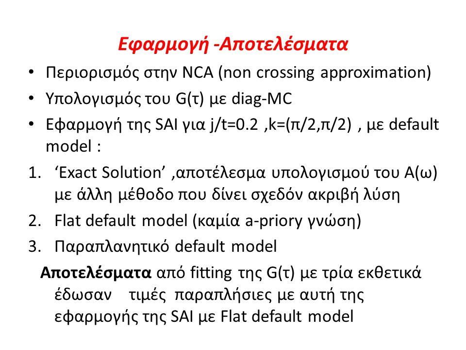 Εφαρμογή -Αποτελέσματα Περιορισμός στην NCA (non crossing approximation) Υπολογισμός του G(τ) με diag-MC Εφαρμογή της SAI για j/t=0.2,k=(π/2,π/2), με default model : 1.'Exact Solution',αποτέλεσμα υπολογισμού του Α(ω) με άλλη μέθοδο που δίνει σχεδόν ακριβή λύση 2.Flat default model (καμία a-priory γνώση) 3.Παραπλανητικό default model Αποτελέσματα από fitting της G(τ) με τρία εκθετικά έδωσαν τιμές παραπλήσιες με αυτή της εφαρμογής της SAI με Flat default model