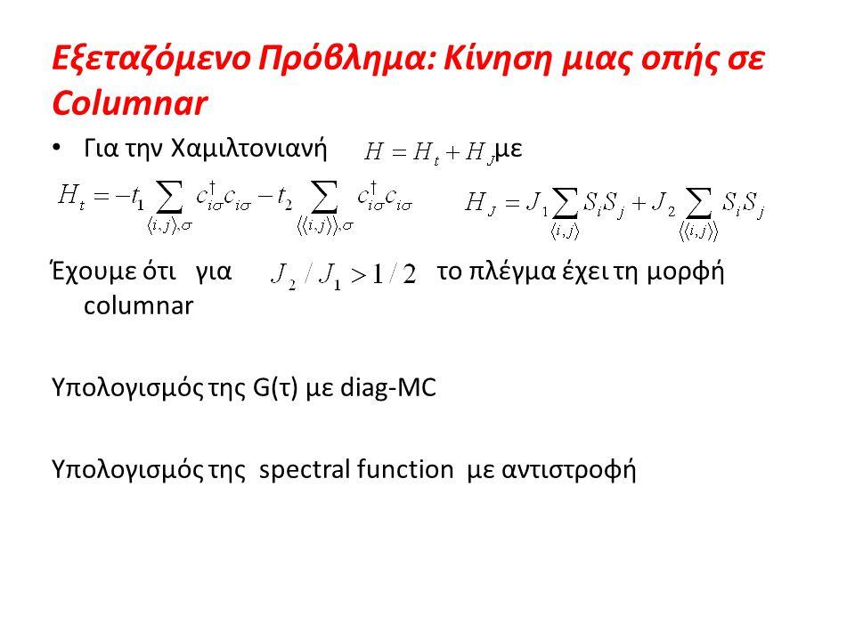 Εξεταζόμενο Πρόβλημα: Κίνηση μιας οπής σε Columnar Για την Χαμιλτονιανή με Έχουμε ότι για το πλέγμα έχει τη μορφή columnar Υπολογισμός της G(τ) με dia