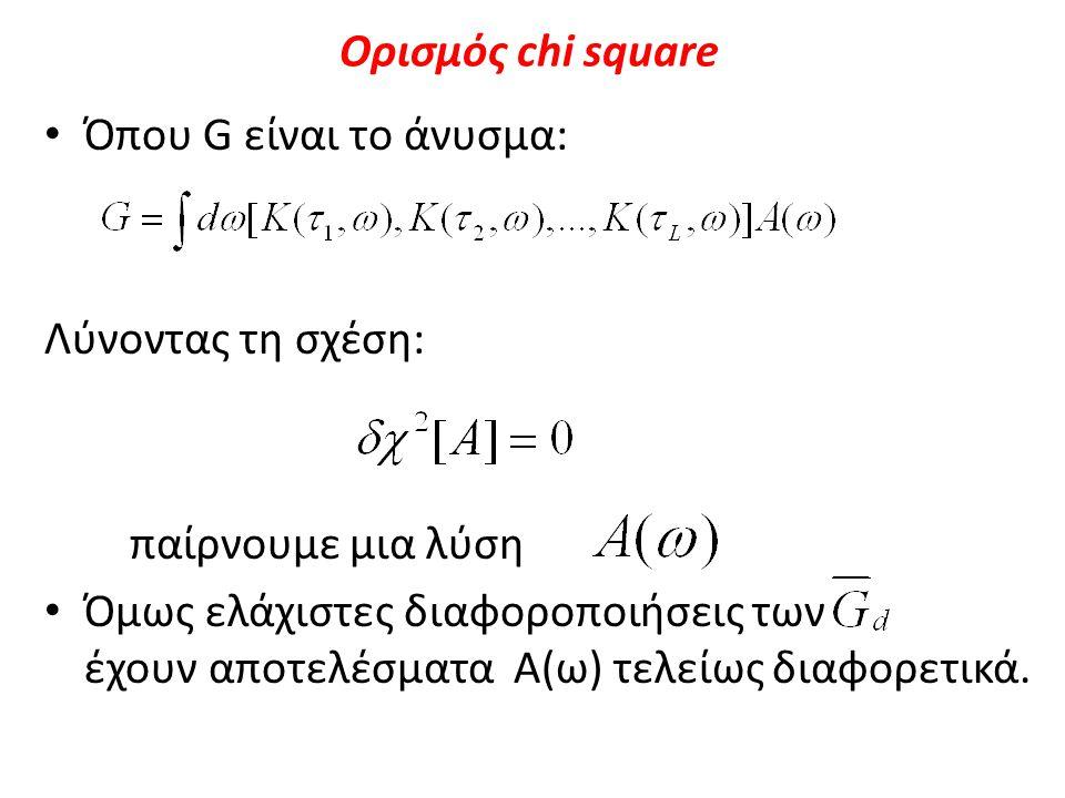 Ορισμός chi square Όπου G είναι το άνυσμα: Λύνοντας τη σχέση: παίρνουμε μια λύση Όμως ελάχιστες διαφοροποιήσεις των έχουν αποτελέσματα A(ω) τελείως δι