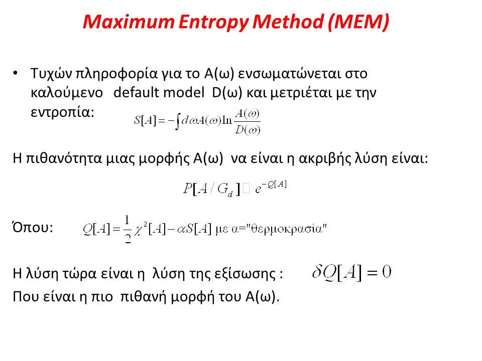 Maximum Entropy Method (MEM) Τυχών πληροφορία για το Α(ω) ενσωματώνεται στο καλούμενο default model D(ω) και μετριέται με την εντροπία: Η πιθανότητα μ