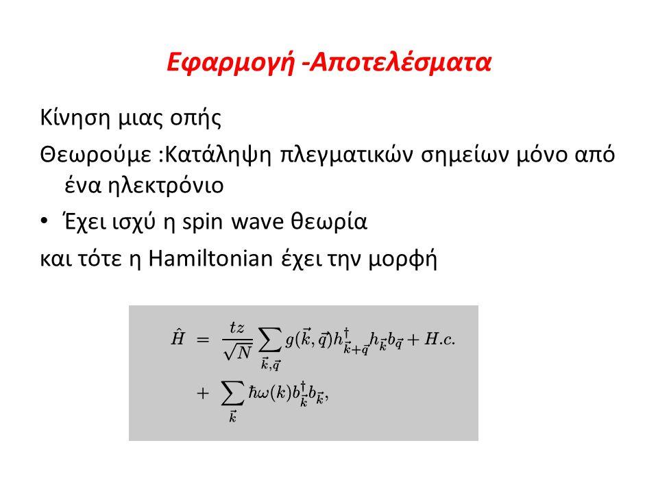 Εφαρμογή -Αποτελέσματα Κίνηση μιας οπής Θεωρούμε :Κατάληψη πλεγματικών σημείων μόνο από ένα ηλεκτρόνιο Έχει ισχύ η spin wave θεωρία και τότε η Hamilto