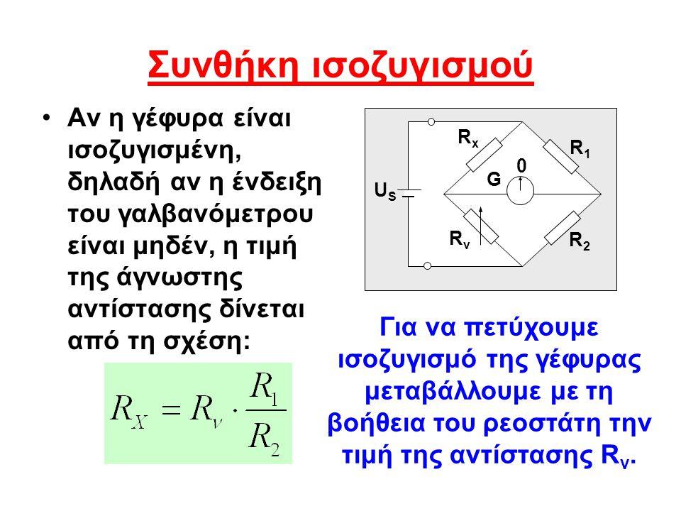 Συνθήκη ισοζυγισμού Αν η γέφυρα είναι ισοζυγισμένη, δηλαδή αν η ένδειξη του γαλβανόμετρου είναι μηδέν, η τιμή της άγνωστης αντίστασης δίνεται από τη σ