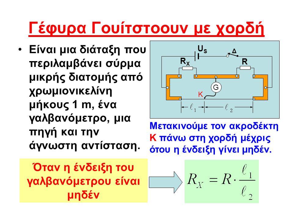 Γέφυρα Γουίτστοουν με χορδή Είναι μια διάταξη που περιλαμβάνει σύρμα μικρής διατομής από χρωμιονικελίνη μήκους 1 m, ένα γαλβανόμετρο, μια πηγή και την