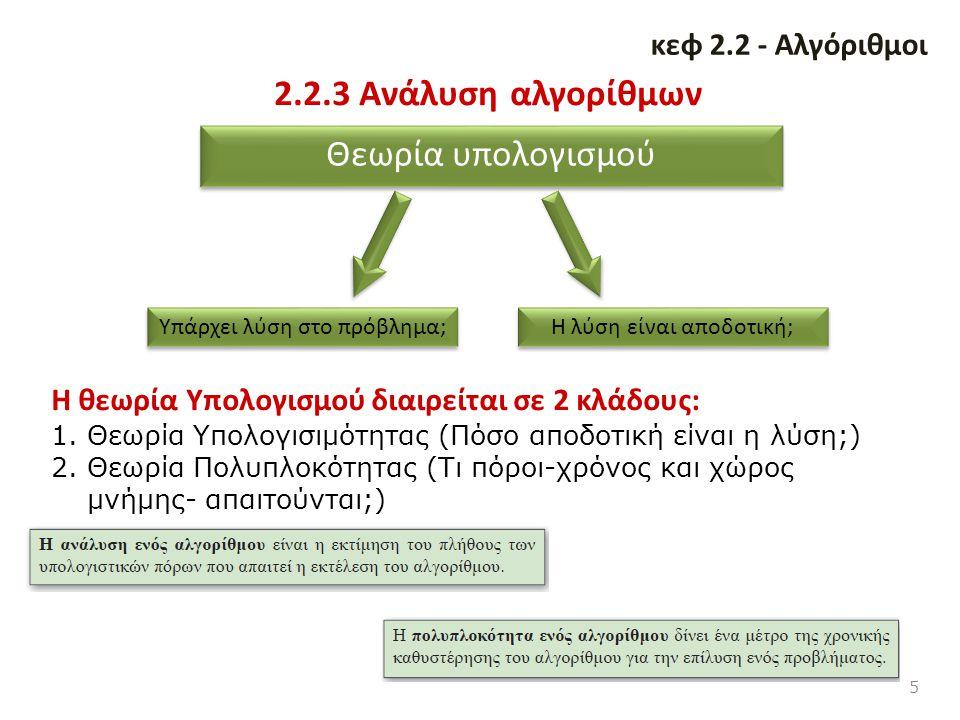2.2.3 Ανάλυση αλγορίθμων 5 κεφ 2.2 - Αλγόριθμοι Θεωρία υπολογισμού Υπάρχει λύση στο πρόβλημα; Η λύση είναι αποδοτική; Η θεωρία Υπολογισμού διαιρείται