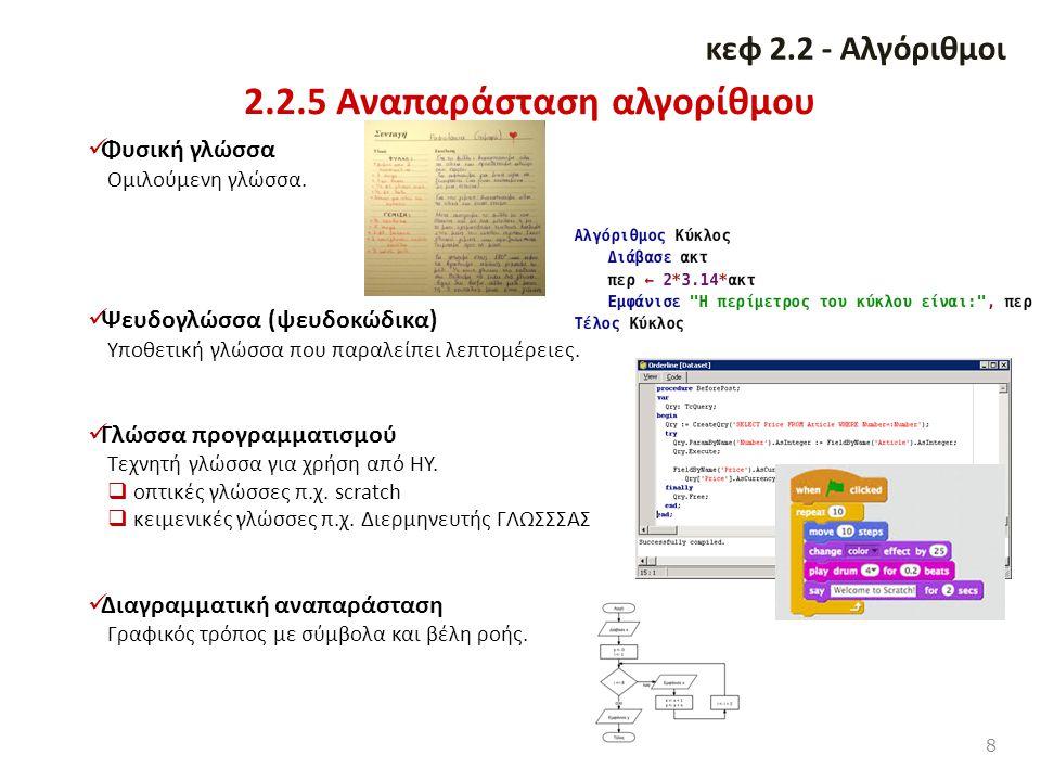 2.2.5 Αναπαράσταση αλγορίθμου 8 κεφ 2.2 - Αλγόριθμοι Φυσική γλώσσα Ομιλούμενη γλώσσα. Ψευδογλώσσα (ψευδοκώδικα) Υποθετική γλώσσα που παραλείπει λεπτομ