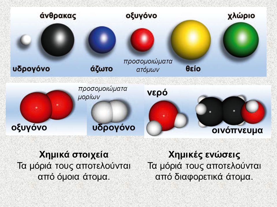 προσομοιώματα ατόμων Χημικά στοιχεία Τα μόριά τους αποτελούνται από όμοια άτομα. Χημικές ενώσεις Τα μόριά τους αποτελούνται από διαφορετικά άτομα. οξυ