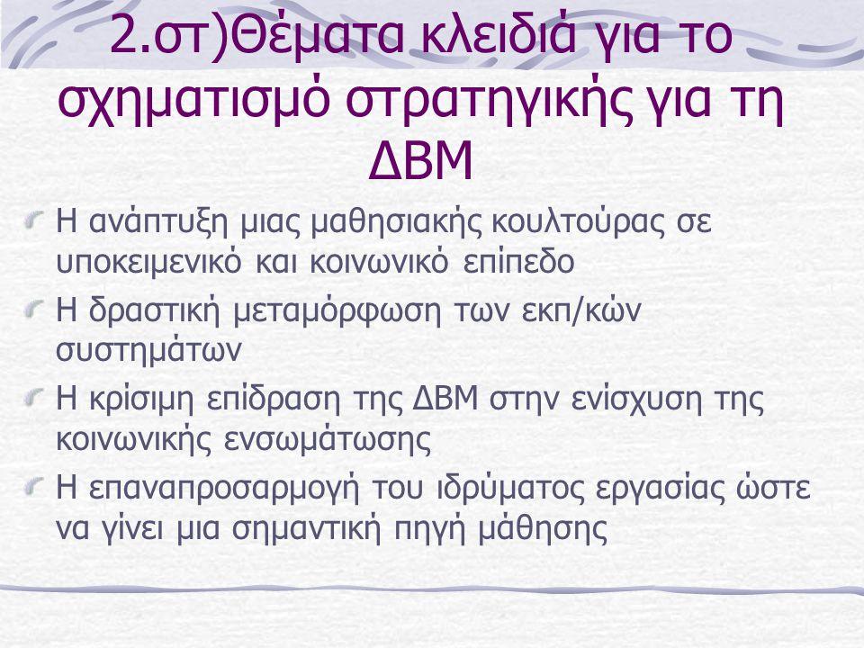 2.στ)Θέματα κλειδιά για το σχηματισμό στρατηγικής για τη ΔΒΜ Η ανάπτυξη μιας μαθησιακής κουλτούρας σε υποκειμενικό και κοινωνικό επίπεδο Η δραστική με