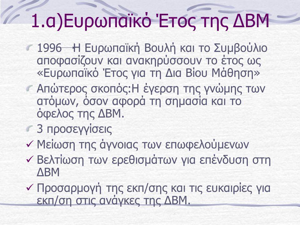1.α)Ευρωπαϊκό Έτος της ΔΒΜ 1996 Η Ευρωπαϊκή Βουλή και το Συμβούλιο αποφασίζουν και ανακηρύσσουν το έτος ως «Ευρωπαϊκό Έτος για τη Δια Βίου Μάθηση» Απώ