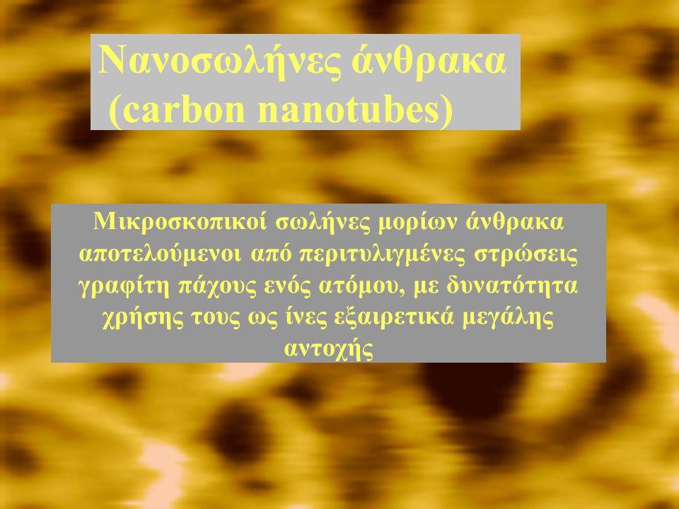 Νανοσωλήνες άνθρακα (carbon nanotubes) Μικροσκοπικοί σωλήνες μορίων άνθρακα αποτελούμενοι από περιτυλιγμένες στρώσεις γραφίτη πάχους ενός ατόμου, με δ