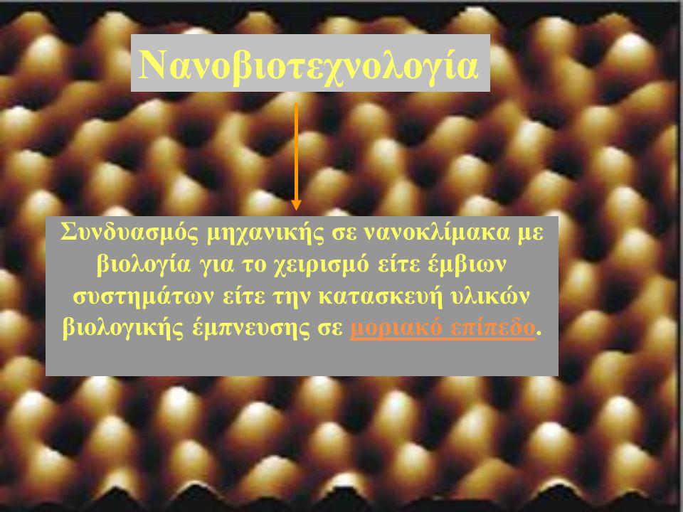 Νανοβιοτεχνολογία Συνδυασμός μηχανικής σε νανοκλίμακα με βιολογία για το χειρισμό είτε έμβιων συστημάτων είτε την κατασκευή υλικών βιολογικής έμπνευση