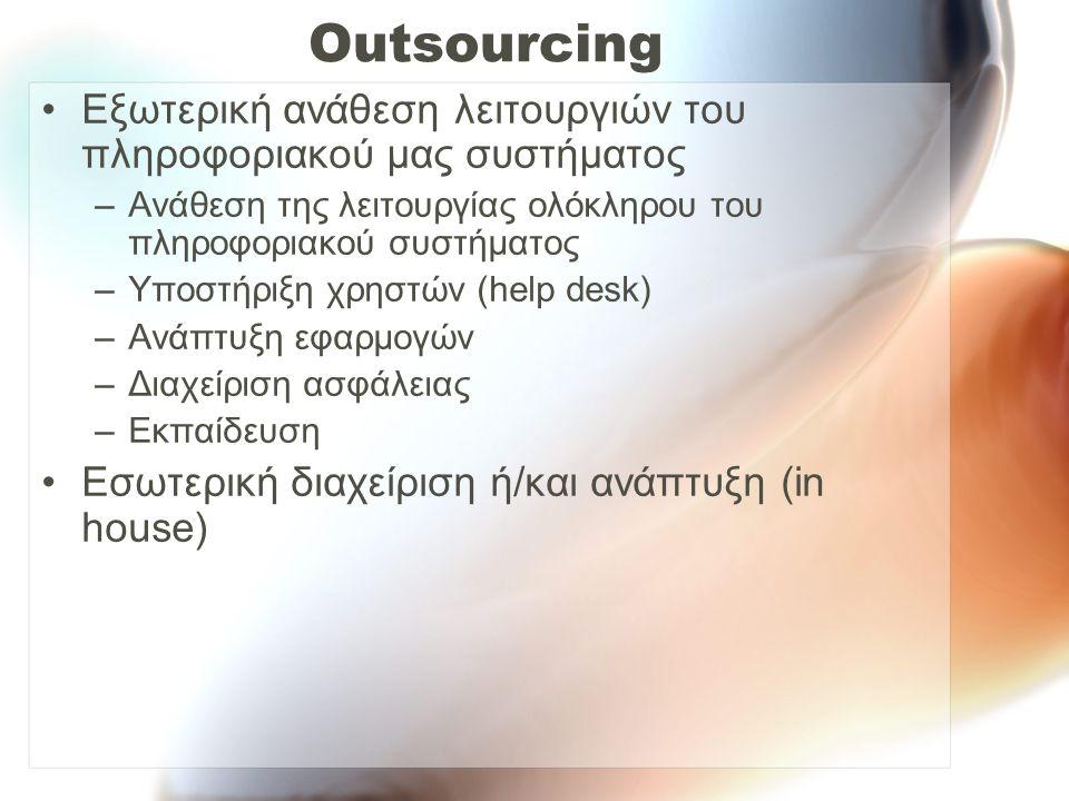 Outsourcing Εξωτερική ανάθεση λειτουργιών του πληροφοριακού μας συστήματος –Ανάθεση της λειτουργίας ολόκληρου του πληροφοριακού συστήματος –Υποστήριξη χρηστών (help desk) –Ανάπτυξη εφαρμογών –Διαχείριση ασφάλειας –Εκπαίδευση Εσωτερική διαχείριση ή/και ανάπτυξη (in house)