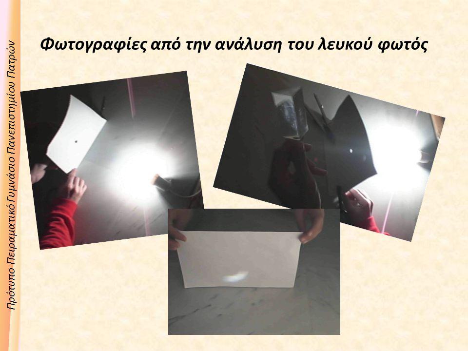 Πρότυπο Πειραματικό Γυμνάσιο Πανεπιστημίου Πατρών Φωτογραφίες από την ανάλυση του λευκού φωτός