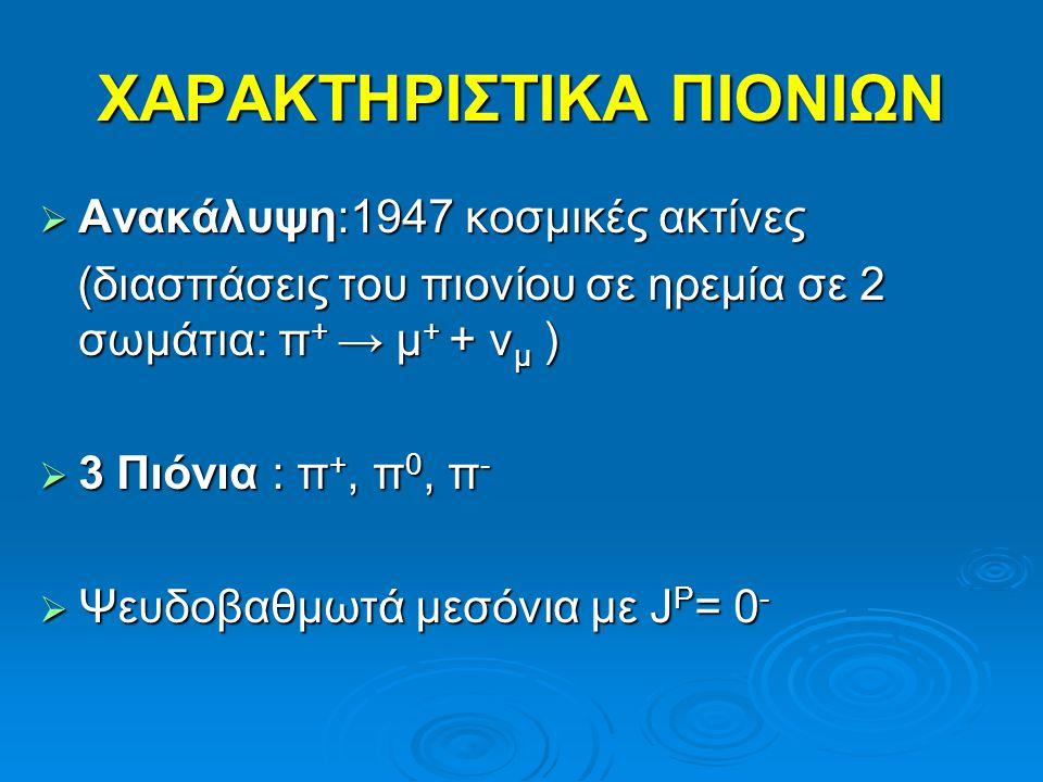 ΧΑΡΑΚΤΗΡΙΣΤΙΚΑ ΠΙΟΝΙΩΝ  Ανακάλυψη:1947 κοσμικές ακτίνες (διασπάσεις του πιονίου σε ηρεμία σε 2 σωμάτια: π + → μ + + ν μ ) (διασπάσεις του πιονίου σε ηρεμία σε 2 σωμάτια: π + → μ + + ν μ )  3 Πιόνια : π +, π 0, π -  Ψευδοβαθμωτά μεσόνια με J P = 0 -