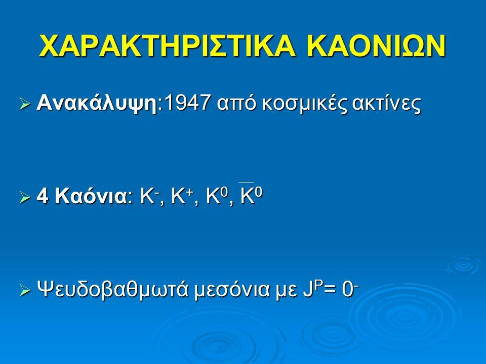 ΧΑΡΑΚΤΗΡΙΣΤΙΚΑ ΚΑΟΝΙΩΝ  Προσδιορισμός Ομοτιμίας Μελέτη υπερπυρήνων Μελέτη υπερπυρήνων Υπερπυρήνας: πυρήνας όπου 1 n αντικαθίσταται από Λ υπερόνιοΥπερπυρήνας: πυρήνας όπου 1 n αντικαθίσταται από Λ υπερόνιο Κ - + 4 Ηe → 4 Η Λ + π 0 Κ - + 4 Ηe → 4 Η Λ + π 0 4 Η Λ (τρίτιο ( 3 Η) & δέσμιο Λ) 4 Η Λ (τρίτιο ( 3 Η) & δέσμιο Λ)  Προσδιορισμός Spin Μετρήσεις των ασθενών τρόπων διάσπασης του υπερπυρήνα Μετρήσεις των ασθενών τρόπων διάσπασης του υπερπυρήνα