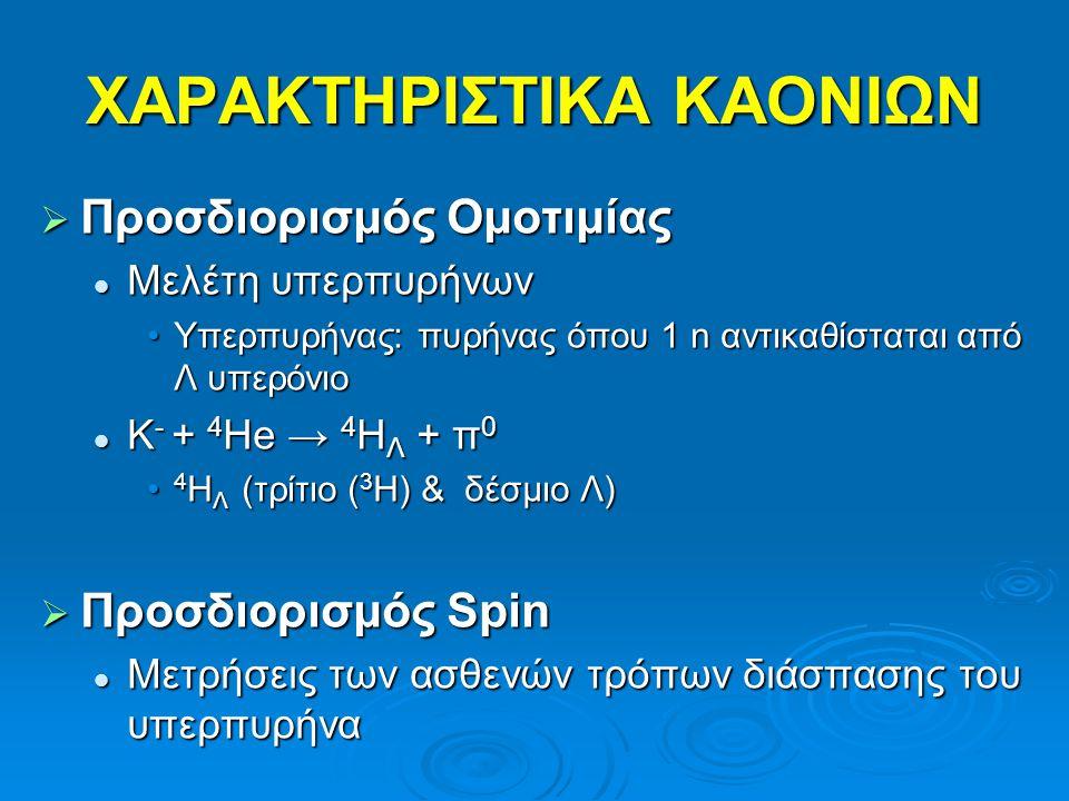 Πίνακας Χαρακτηριστικών Μεσό νια QuarkΦορτίοΜάζα(MeV) JPJPJPJPΧρόνοςΖωήςΚύριεςΔιασπάσεις π+π+π+π+ud+1139 0-0-0-0- 2.6*10 -8 μν μ π0π0π0π0 (uu- dd)/√2 0134 0-0-0-0- 8.7*10 -17 γγ π-π-π-π-du139 0-0-0-0- 2.6*10 -8 μν μ Κ+Κ+Κ+Κ+us+1493 0-0-0-0- 1.24*10 -8 μν μ, π ± π 0, π ± π ± π - Κ-Κ-Κ-Κ-su493 0-0-0-0- 1.24*10 -8 Κ0Κ0Κ0Κ0ds0497 0-0-0-0- Κ s 0 0.89*10 -10 Κ l 0 5.18*10 -8 π + π -, π 0 π 0 πev e,πμν μ,πππ Κ0Κ0Κ0Κ0sd0497 0-0-0-0- +