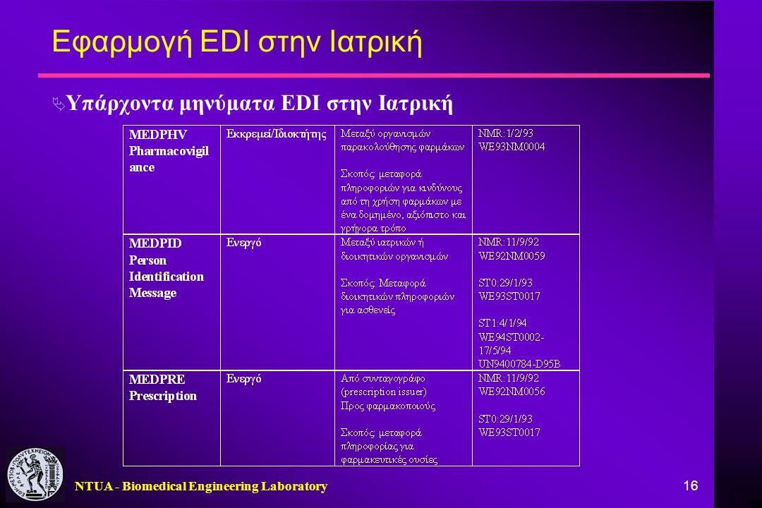 NTUA - Biomedical Engineering Laboratory 16 Εφαρμογή EDI στην Ιατρική  Υπάρχοντα μηνύματα EDI στην Ιατρική