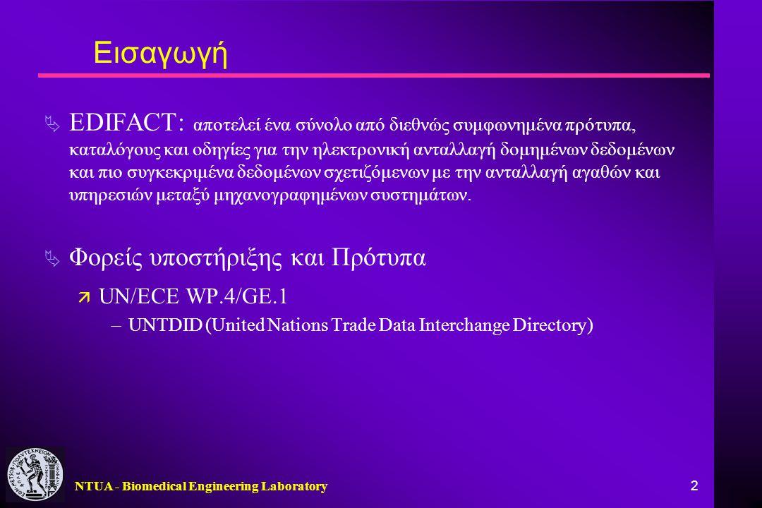 NTUA - Biomedical Engineering Laboratory 2 Εισαγωγή  EDIFACT: αποτελεί ένα σύνολο από διεθνώς συμφωνημένα πρότυπα, καταλόγους και οδηγίες για την ηλε