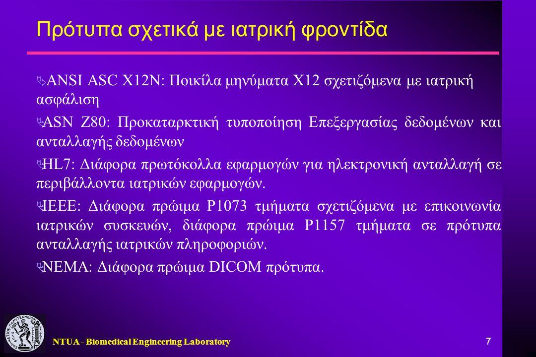 NTUA - Biomedical Engineering Laboratory 7 Πρότυπα σχετικά με ιατρική φροντίδα  ANSI ASC X12N: Ποικίλα μηνύματα Χ12 σχετιζόμενα με ιατρική ασφάλιση 