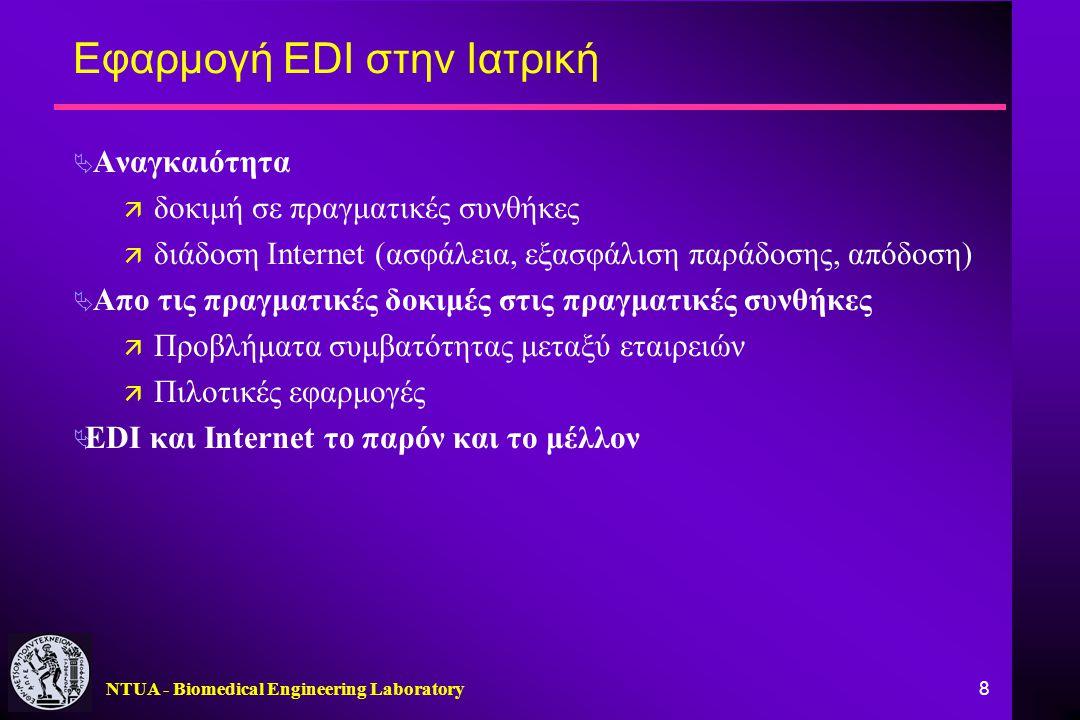 NTUA - Biomedical Engineering Laboratory 8 Εφαρμογή EDI στην Ιατρική  Αναγκαιότητα ä δοκιμή σε πραγματικές συνθήκες ä διάδοση Internet (ασφάλεια, εξα