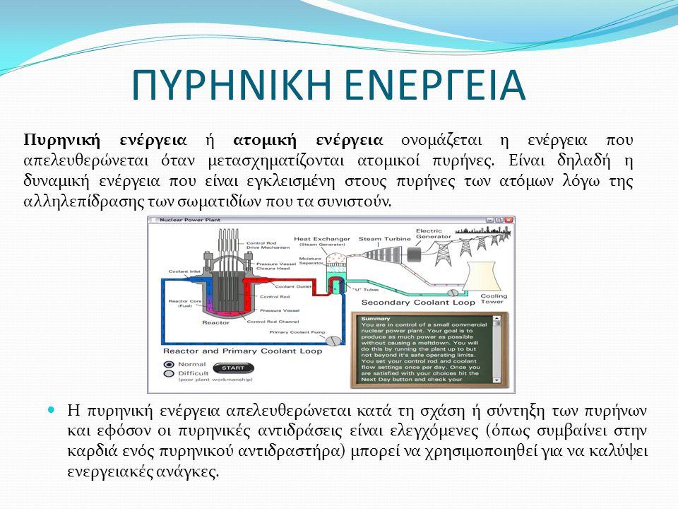 ΠΥΡΗΝΙΚΗ ΕΝΕΡΓΕΙΑ Η πυρηνική ενέργεια απελευθερώνεται κατά τη σχάση ή σύντηξη των πυρήνων και εφόσον οι πυρηνικές αντιδράσεις είναι ελεγχόμενες (όπως