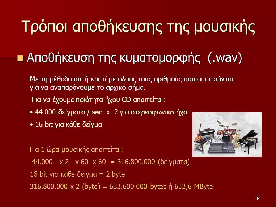 8 Τρόποι αποθήκευσης της μουσικής Αποθήκευση της κυματομορφής (.wav) Αποθήκευση της κυματομορφής (.wav) Με τη μέθοδο αυτή κρατάμε όλους τους αριθμούς