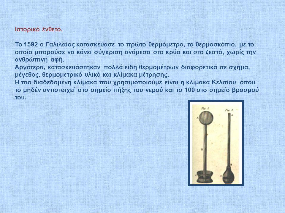 Ιστορικό ένθετο. To 1592 o Γαλιλαίος κατασκεύασε το πρώτο θερμόμετρο, το θερμοσκόπιο, με το οποίο μπορούσε να κάνει σύγκριση ανάμεσα στο κρύο και στο