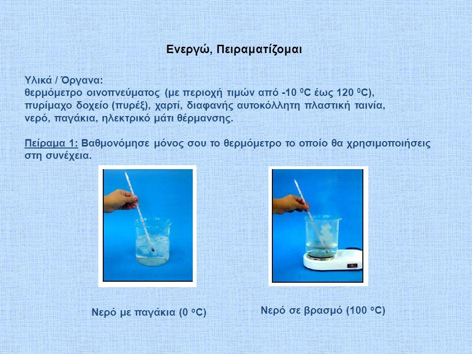 Ενεργώ, Πειραματίζομαι Υλικά / Όργανα: θερμόμετρο οινοπνεύματος (με περιοχή τιμών από -10 0 C έως 120 0 C), πυρίμαχο δοχείο (πυρέξ), χαρτί, διαφανής α