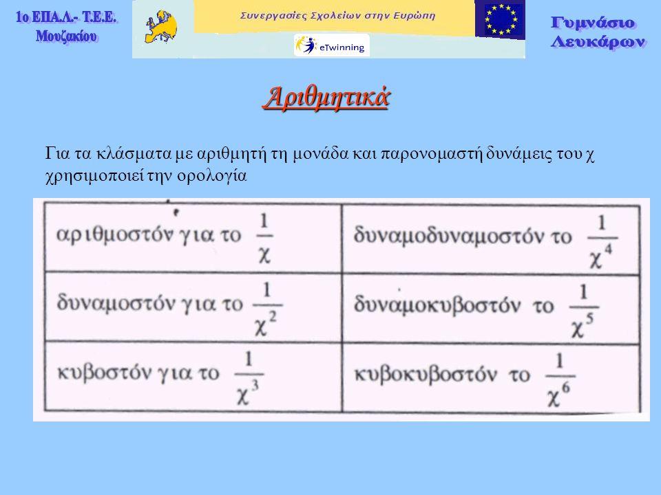 Αριθμητικά Για τα κλάσματα με αριθμητή τη μονάδα και παρονομαστή δυνάμεις του χ χρησιμοποιεί την ορολογία