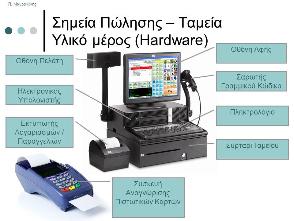 Π. Μαυρογένης Σημεία Πώλησης – Ταμεία Υλικό μέρος (Hardware) Πληκτρολόγιο Συρτάρι Ταμείου Σαρωτής Γραμμικού Κώδικα Οθόνη Αφής Οθόνη Πελάτη Ηλεκτρονικό