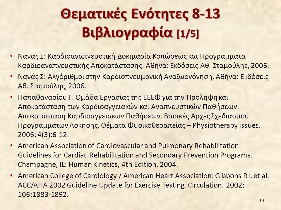 Θεματικές Ενότητες 8-13 Βιβλιογραφία [1/5] Νανάς Σ: Καρδιοαναπνευστική Δοκιμασία Κοπώσεως και Προγράμματα Καρδιοαναπνευστικής Αποκατάστασης. Αθήνα: Εκ