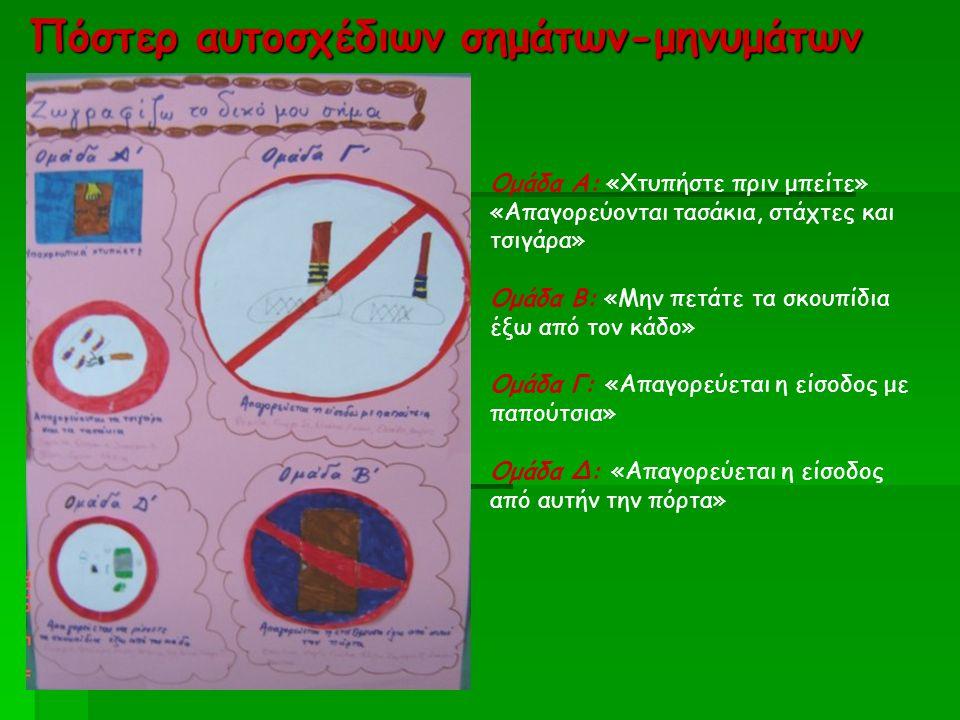 Πόστερ αυτοσχέδιων σημάτων-μηνυμάτων Ομάδα Α: «Χτυπήστε πριν μπείτε» «Απαγορεύονται τασάκια, στάχτες και τσιγάρα» Ομάδα Β: «Μην πετάτε τα σκουπίδια έξ