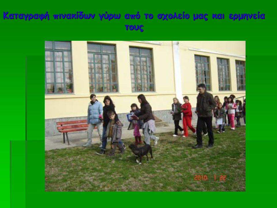 Καταγραφή πινακίδων γύρω από το σχολείο μας και ερμηνεία τους