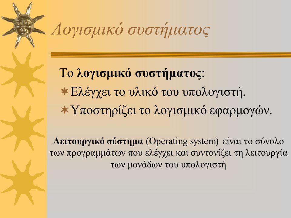 Λογισμικό συστήματος Το λογισμικό συστήματος:  Ελέγχει το υλικό του υπολογιστή.  Υποστηρίζει το λογισμικό εφαρμογών. Λειτουργικό σύστημα (Operating