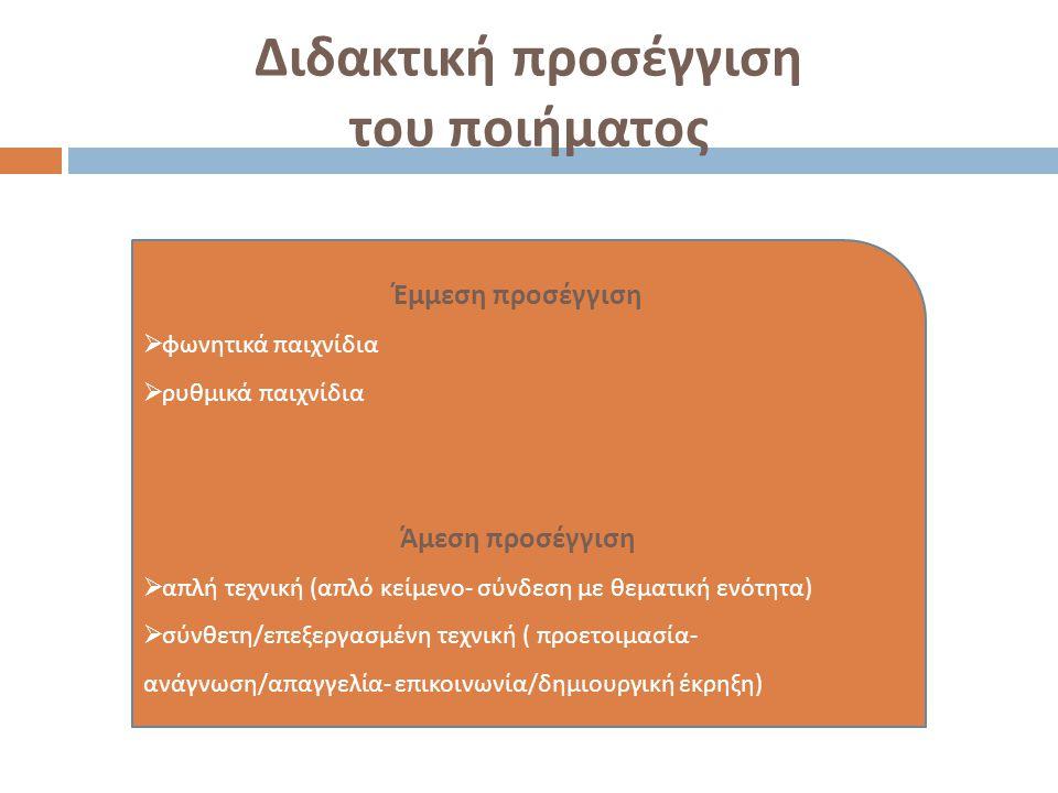 Διδακτική προσέγγιση του ποιήματος Έμμεση π ροσέγγιση  φωνητικά π αιχνίδια  ρυθμικά π αιχνίδια Άμεση π ροσέγγιση  α π λή τεχνική ( α π λό κείμενο -