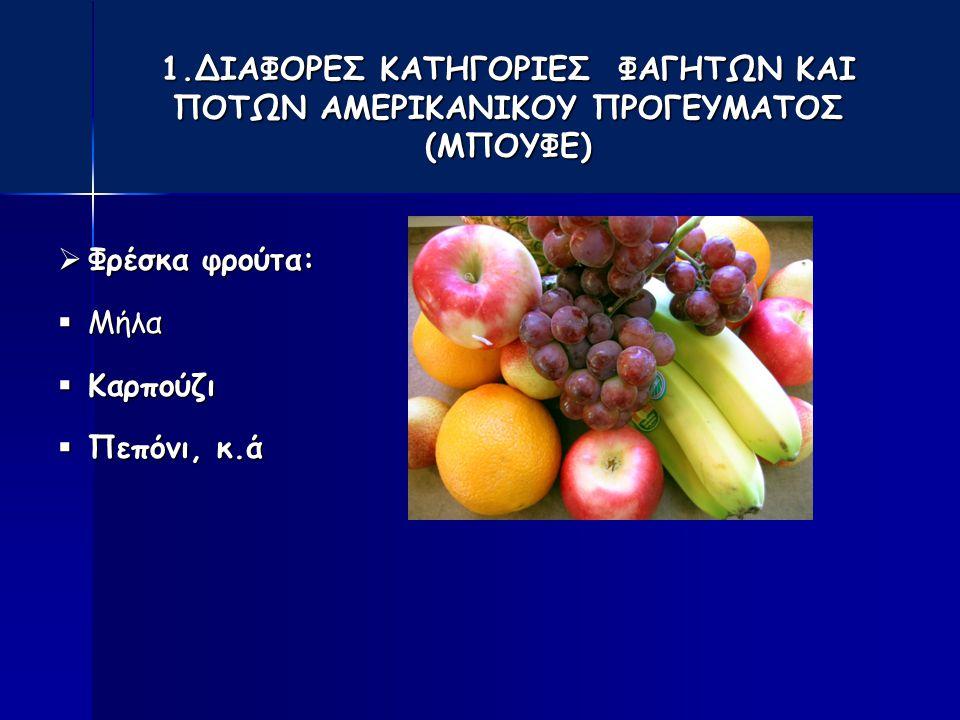 1.ΔΙΑΦΟΡΕΣ ΚΑΤΗΓΟΡΙΕΣ ΦΑΓΗΤΩΝ ΚΑΙ ΠΟΤΩΝ ΑΜΕΡΙΚΑΝΙΚΟΥ ΠΡΟΓΕΥΜΑΤΟΣ (ΜΠΟΥΦΕ)  Φρέσκα φρούτα:  Μήλα  Καρπούζι  Πεπόνι, κ.ά
