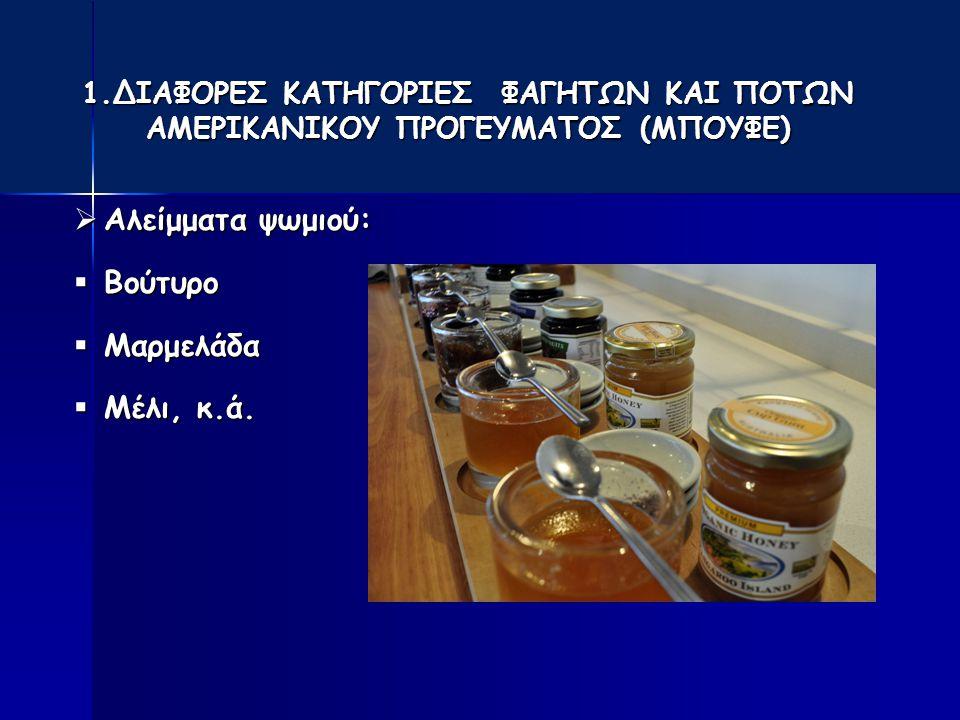 1.ΔΙΑΦΟΡΕΣ ΚΑΤΗΓΟΡΙΕΣ ΦΑΓΗΤΩΝ ΚΑΙ ΠΟΤΩΝ ΑΜΕΡΙΚΑΝΙΚΟΥ ΠΡΟΓΕΥΜΑΤΟΣ (ΜΠΟΥΦΕ)  Αλείμματα ψωμιού:  Βούτυρο  Μαρμελάδα  Μέλι, κ.ά.