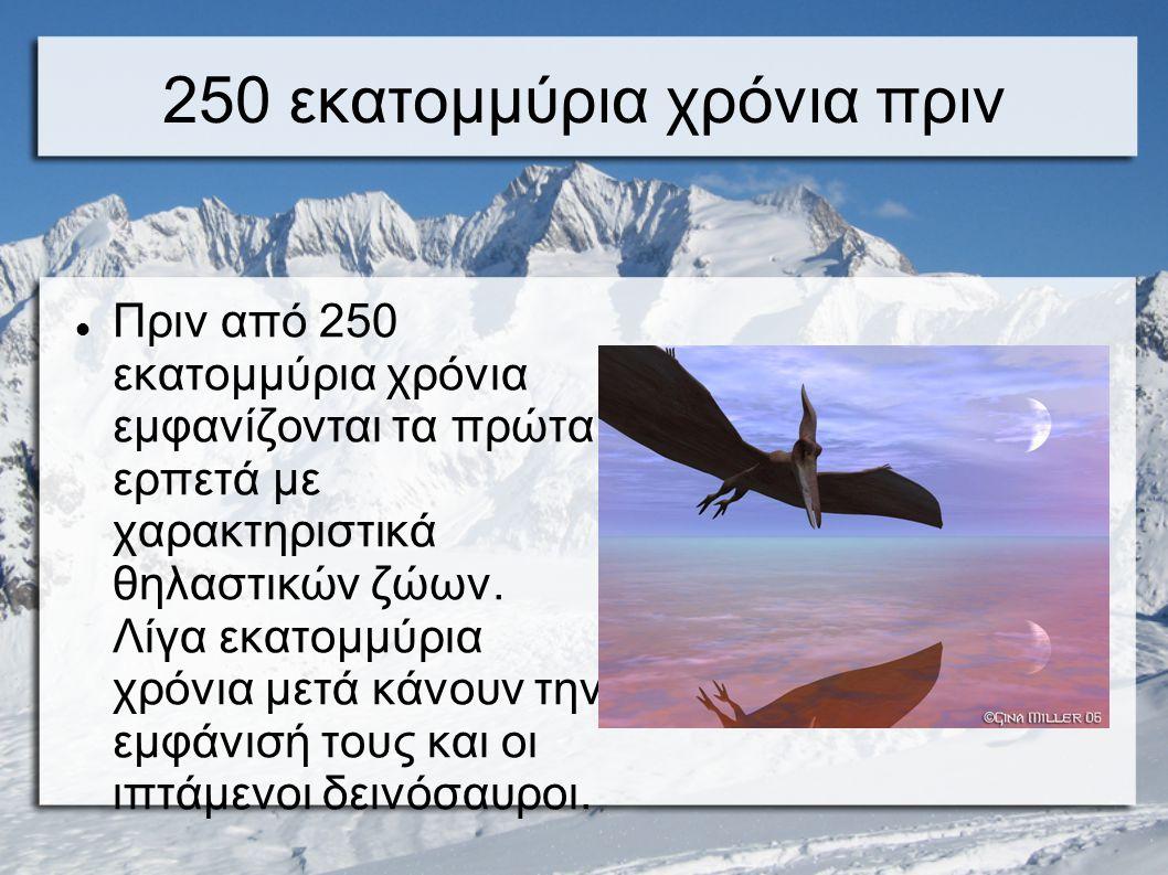 250 εκατομμύρια χρόνια πριν Πριν από 250 εκατομμύρια χρόνια εμφανίζονται τα πρώτα ερπετά με χαρακτηριστικά θηλαστικών ζώων. Λίγα εκατομμύρια χρόνια με