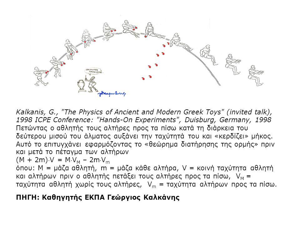 Kalkanis, G., The Physics of Ancient and Modern Greek Toys (invited talk), 1998 ICPE Conference: Hands-On Experiments , Duisburg, Germany, 1998 Πετώντας ο αθλητής τους αλτήρες προς τα πίσω κατά τη διάρκεια του δεύτερου μισού του άλματος αυξάνει την ταχύτητά του και «κερδίζει» μήκος.