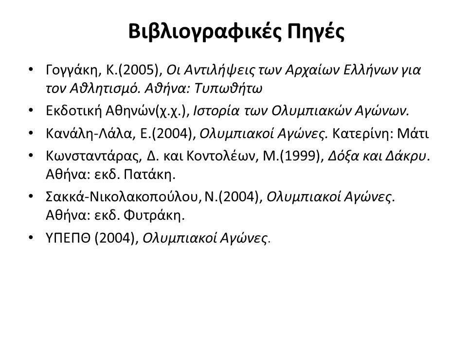 Βιβλιογραφικές Πηγές Γογγάκη, Κ.(2005), Οι Αντιλήψεις των Αρχαίων Ελλήνων για τον Αθλητισμό.