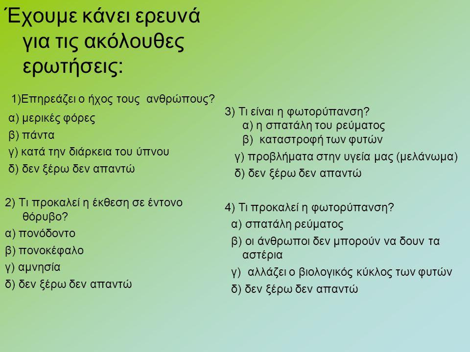 Έχουμε κάνει ερευνά για τις ακόλουθες ερωτήσεις: 1)Επηρεάζει ο ήχος τους ανθρώπους.