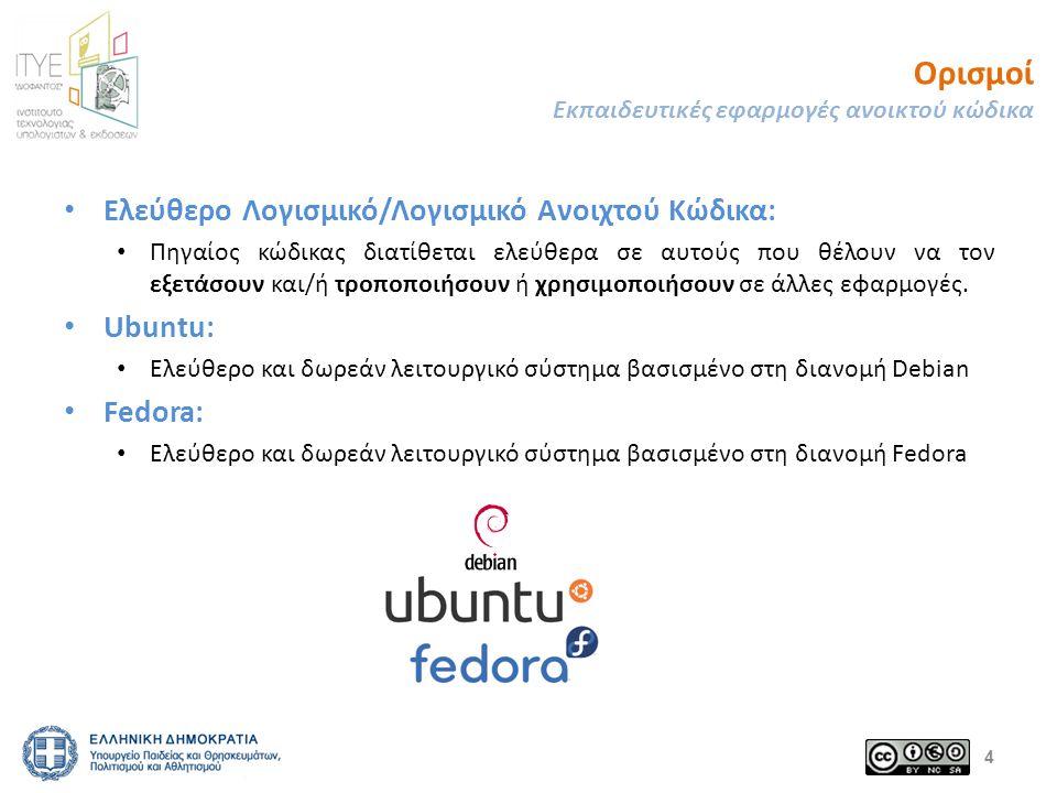 Λογισμικό ανοικτού κώδικα Εκπαιδευτικές εφαρμογές ανοικτού κώδικα Ένα λογισμικό χαρακτηρίζεται ως λογισμικό ανοικτού κώδικα, αν ο χρήστης του έχει την ελευθερία: – να χρησιμοποιήσει/εκτελέσει το λογισμικό για κάθε σκοπό (ελευθερία 0) – να μελετήσει πως λειτουργεί το πρόγραμμα και να το προσαρμόσει στις ανάγκες του (ελευθερία 1) προαπαιτεί πρόσβαση στον πηγαίο κώδικα – να (ανά) διανείμει αντίγραφα για να βοηθήσει άλλους χρήστες (ελευθερία 2) – να βελτιώσει το πρόγραμμα και να διαθέσει τις βελτιώσεις στο ευρύ κοινό, ώστε όλοι να επωφεληθούν (ελευθερία 3) προαπαιτεί πρόσβαση στον πηγαίο κώδικα 5