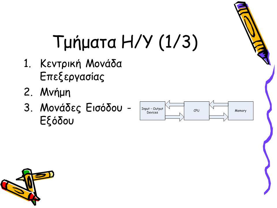 Τμήματα Η/Υ (2/3) 1.Κεντρική Μονάδα Επεξεργασίας (CPU): Επιτελεί βασικές λειτουργίες 2.Μνήμη (Memory): Συγκρατεί α) Αλγόριθμο που προσδιορίζει τις λειτουργίες που θα επιτελεστούν β)Πληροφορίες ή δεδομένα πάνω στα οποία θα ενεργήσουν οι λειτουργίες